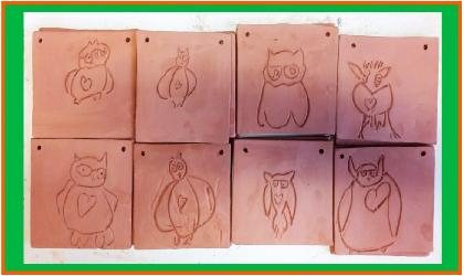 Projet : gravure de Professeur Hibou sur argile, en classe maternelle